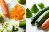 Prettige borden met de groenteslijper van Mastrad