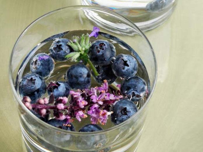 blauwe bessen lavendel water